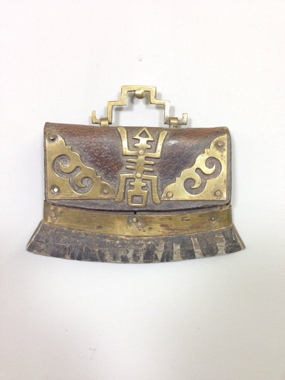 Case Flint Leather Brass Flint Case Tibet Handmade Leather Brass Flint Leather Case Home Decor Gift  Decorative Case