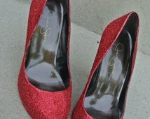 Dorothy Gale Meets Jessica Rabbit Ruby Red Glitter Sparkle Pumps Size 7US FREE SHIPPING