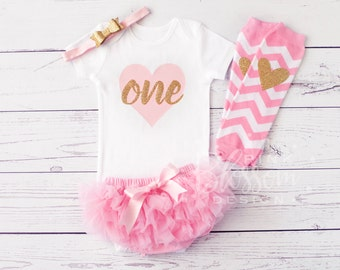 First Birthday Outfit - 1st Birthday Outfit - First Birthday Onesie - Girls Gold Pink Outfit - 2nd Birthday