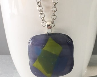 Fused glass pendant, purple glass pendant, glass pendant, purple necklace