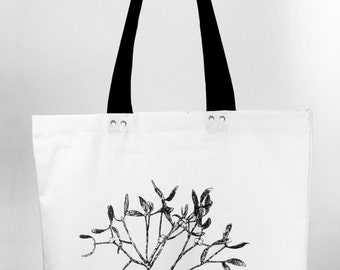 Mistletoe - hand screen printed cotton canvas tote bag