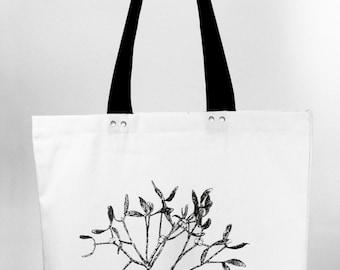 Mistletoe - hand screen printed cotton canvas tote bag