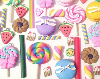6pc 12pc 24pcs Polymer clay lollipop macaroon biscuits fake food candy cane cabochon decoden kit set UK craft supplies phone pendants