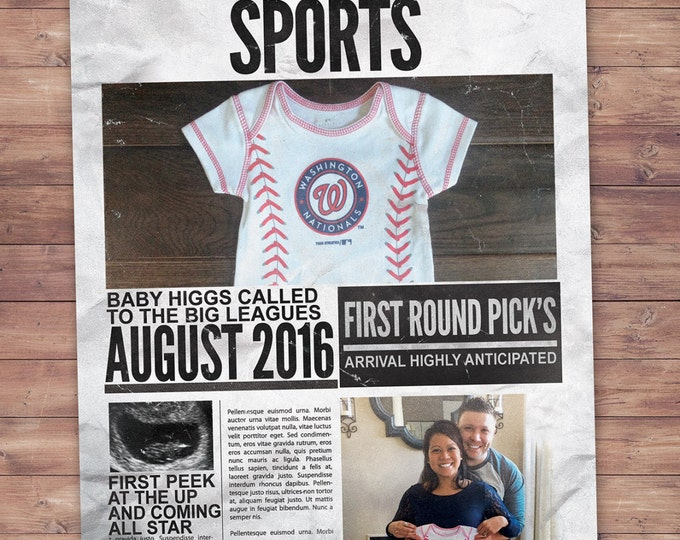 NEWSPAPER pregnancy announcement, birth announcement, baby boy, sports, football, baby shower, baseball, invitation