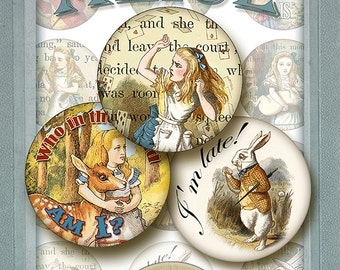 Alice in Wonderland  12 round Images2 inches,Digital Collage Sheet/ Instant download jewelry making