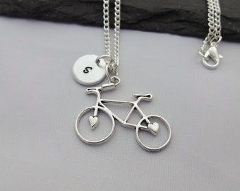 Initial Bicycle Necklace, Bicycle Necklace, Bike Necklace, Initial Charm Necklace, Cyclist Gift, Bike Gift, Sports Gifts, Cyclist, Gifts