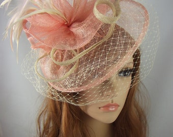 Pink & Beige Sinamay Fascinator With Birdcage Veil - Occasion Wedding Races