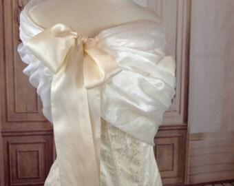 Ivory Organza Shawl Organza Wedding Shrug Organza Bolero Ivory Evening Wrap Portrait Stole Bridal Shoulder Cover  Wedding Shawl