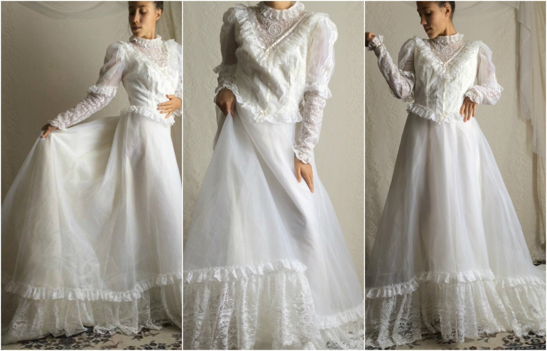 70s Ivory Long Sleeve Wedding Dress by DizzyDreamerVintage