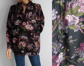 Floral blouse shirt top, french vintage, long sleeve, black purple flower pattern, tunic top, x large