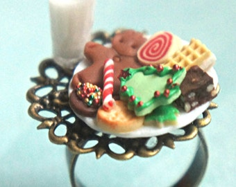 christmas cookies and milk ring- holiday jewelry, miniature food ring