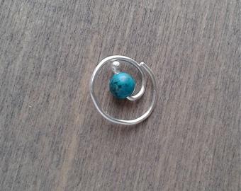 Silver daith earring, spiral hoop earring, small piercing earring, turquoise earring, cartilage earring, single earring, 20 18 gauge Ohrring