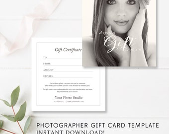 Boudoir Gift Card Template, Boudoir Gift Certificate, Photographer Gift Card Template, Voucher - INSTANT DOWNLOAD!