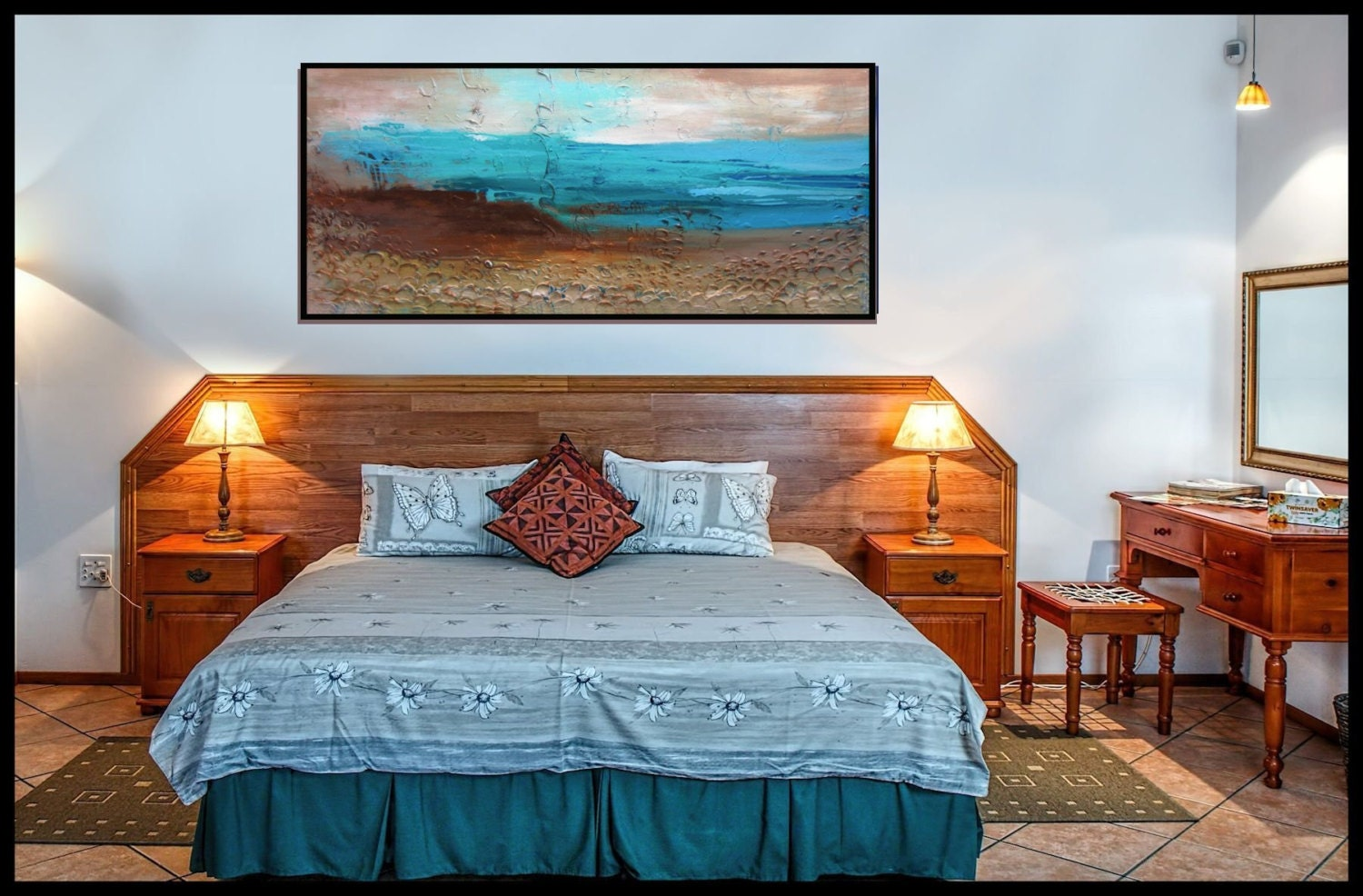 blue and brown wall art teal painting textured by christovart. Black Bedroom Furniture Sets. Home Design Ideas