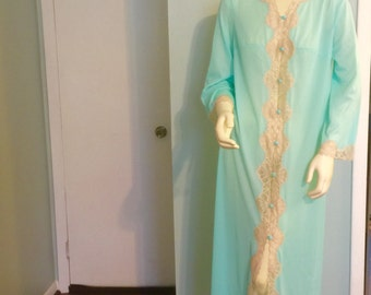 Emilio Pucci Formfit Rogers Robe Seafoam Blue Green Lace Negligee Medium