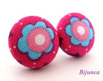 Flower earrings studs -Pink Flower posts - Flower studs - Spring Flower earrings - Flower jewelry - Earrings cherry sf968