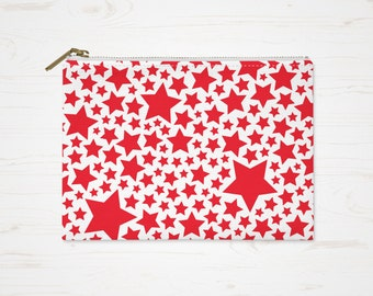 Stars Cosmetic Bag, Red Toiletry Bag, Accessory Pouch, Red White Pouch, Large Pencil Case, Small Makeup Bag, Red Stars Purse, Durable Pouch