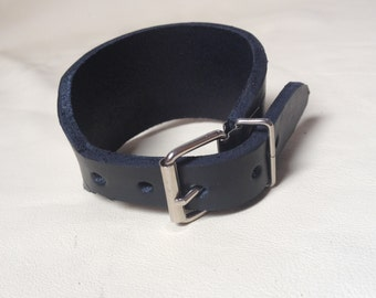 Leather bracelet with buckle chrome - ref: BL 7