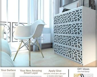 Coral - Furniture Appliques - Fretwork - Overlays - Makeover - Furniture Decor - Malm - Furniture Hardware - Lattice - Ornaments - Sku:Coral