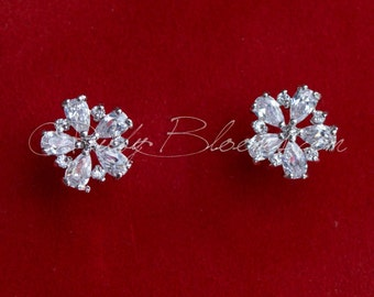 CZ Bridal Earrings, Crystal Silver Earrings, Bridal Post Earrings, Cubic Zirconia Earrings, Prom, Bridesmaid Earrings, Wedding Gift Jewelry