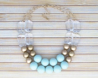 Gold and Mint Statement Necklace, Chunky Beaded Mint Green Bib Necklace, Double Strand Layer Multistrand Multi Strand Crystal Bead Necklace