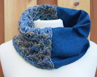 Blue Herringbone Star Stitch-Highland Cowl