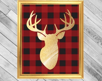 Instant Download - Gold watercolor Deer Head with Red Plaid Background - 8x10 & 11x14 Printable Wall Art