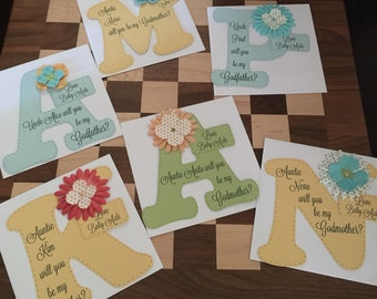 Will you be my Godmother or Godfather or Godparents card - Any color flower and Card stock, Godmother, Godfather, Godparents, Nino, Nina