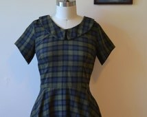 SALE!! The Merry May, Peter Pan Collar Dress, Circle Skirt, Side Pockets, Inverted Sleeves, Tartan Cotton, Marc Jacobs Cotton