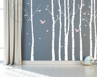 Tree Wall Decals Large Birch Tree Wall Mural Tree And Birds Wall Sticker  Giant Tree Wall Part 49