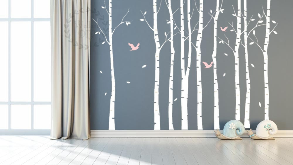 Tree wall decals large birch tree wall mural tree and birds for Birch trees mural