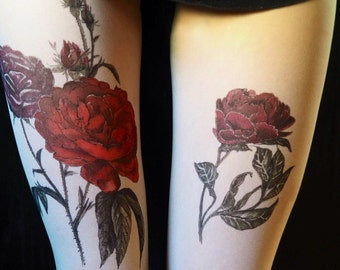 Tattoo Tights, Red Rose, Embellished tights, Tatul tights