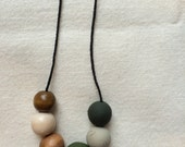 Tree-Lined Drive  / Clay and Wood Bead Necklace