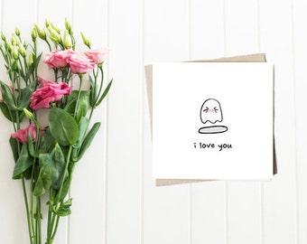 Ghost Love - Cute Cartoon Blank Square Card