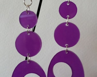 Circles and Ovals Purple Acrylic Earrings