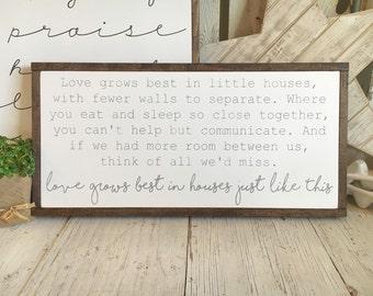 Little Houses | Framed Wood Sign | 13 x 26