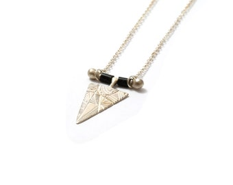Sterling Silver Triangle Necklace, Long Triangle Necklace, V Necklace, Boho Necklace, Silver Black Triangle Pendant, Geometric Necklace