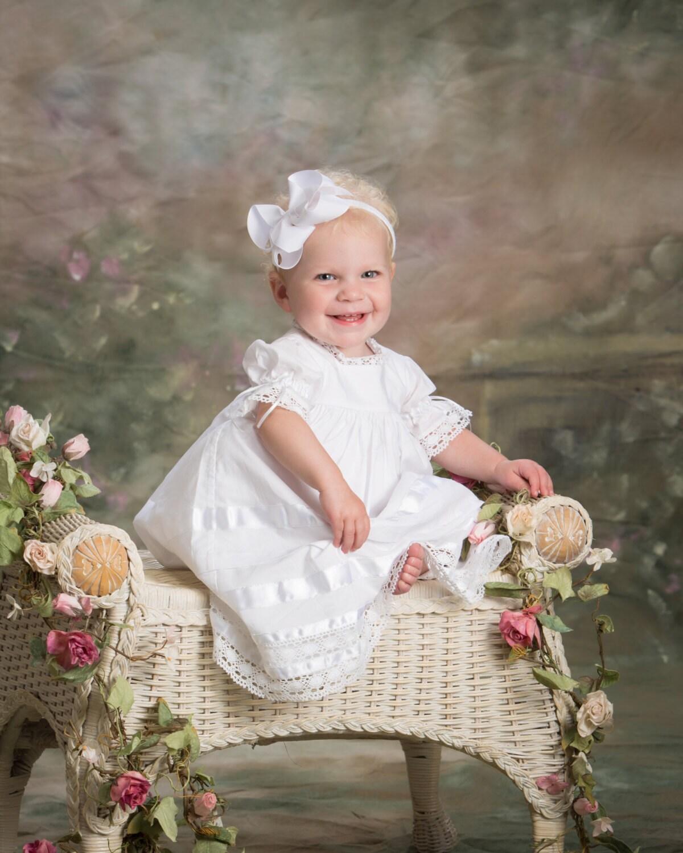Baptism Dress White Baby Toddler Girl Lace Heirloom Flower