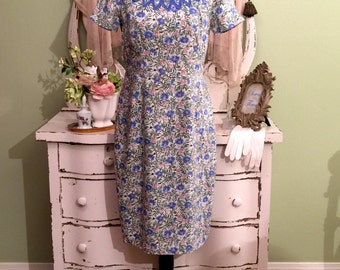 Blue Summer Dress, Cotton Linen, Vintage Floral Dress, LM-L, Vintage 40s Dress, Vintage Palm Beach, Blue Floral Dress, Cool Natural Pretty