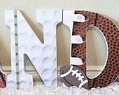 Sport themed Nursery Baby Boy Name, Wooden Wall Letters -Football, Basketball,Soccer, Baseball, Golf,  Personalized Baby Gift,