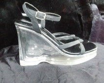 90's Clear Chunky Wedge Heel Plastic and Black Straps 90s does 60s Lucite Womens Size 7 Platform Thick Cyber Goth Club Kid Grunge Witch SEXy