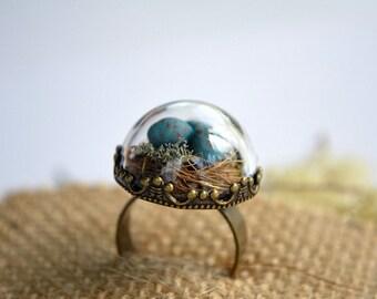 Bird nest ring, spring jewelry, unique rings, spring celebration, terrarium ring, new life celebration, woodland jewelry, fairytale ring