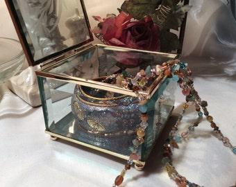 Jewelry Box Beveled Glass Hinged Lid