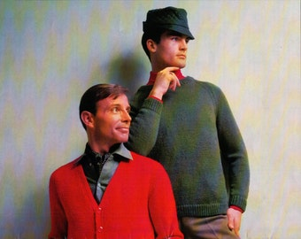 Men's Classic Pullover and Cardigan Sweater Knitting Patterns from 1970 - Chest SIze 38/40/42/44