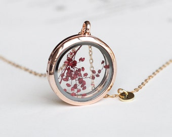real flower necklace, red Babysbreath Window Locket Necklace with initial, rose gold bridesmaid gifts, real plant, mothers day gift for mom