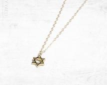 Magen david charm, star of David necklace, jewish necklace, dainty necklace, statement necklace, gift under 50, everyday necklace tiny charm