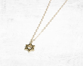 Magen david charm, star of David necklace, jewish necklace, dainty necklace, statement necklace, gift under 50, everyday necklace tiny charm