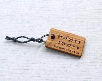 Latitude longitude engraved keychain. Custom Personalised. Handmade in UK. Wood  GPS coordinates key ring.  Laser Engraved wood keyring