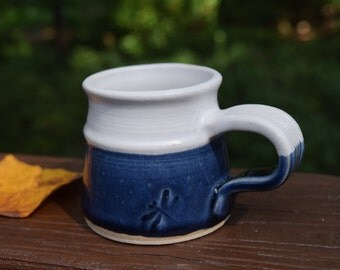 Pottery Mug, Espresso, Stoneware, Indigo Blue and White, Dragonfly, Holds 6 Ounces