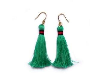 Tassel Earrings , Green Tassel Earrings , Boho Chic Earrings , Boho Earrings , Green Earrings , Luxe Boho Earrings